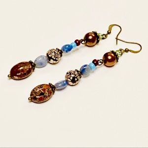 Blue Sodalite & Brecciated Jasper Earrings